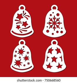 set christmas decoration bell sock xmas stock vector royalty free