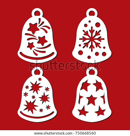 Set Christmas Bells Stars Snowflakes Template Stock Vector Royalty