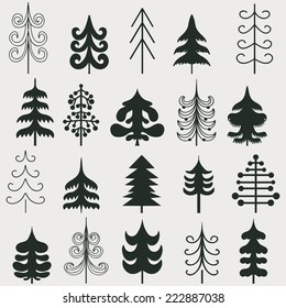 Set of Christmas black trees isolated on white background. Vector illustration. Graphic design editable for your design.