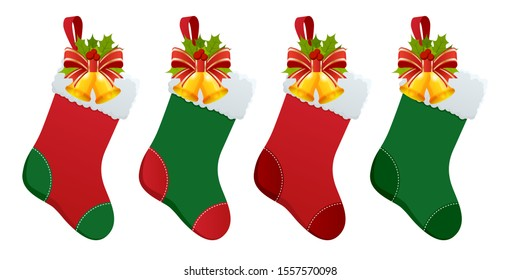 Set of Christmas boots stocking with gifts. Christmas stockings with gifts isolated on white background.
