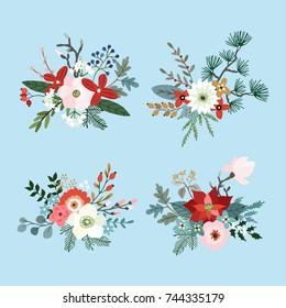 Set of Christmas bouquets made of fir, pine and eucalyptus tree branches, poinsettia, mums,  magnolia flowers, holly, leaves and berries. Floral winter decoration. Isolated vector objects.
