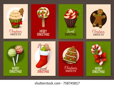 Set of Christmas brochures with sweets. Vector templates.