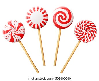 Set of christmas candy on wooden stick. Striped peppermint lollipops isolated on white. Vector illustration for christmas, new years day, sweet-stuff, winter holiday, dessert, new years eve, etc