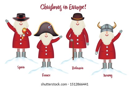 Set Christmas card travel template. Festive Holidays in Europe invitation. Cartoon happy Santa Claus in european hats, stand in snowdrift, isolated. Vector illustration