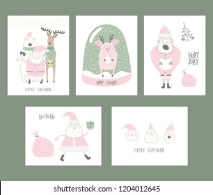 Set of Christmas cards with cute funny cartoon Santa Claus, polar bear, pig, deer, snow globe, typography. Hand drawn vector illustration. Flat style design. Concept for print, holiday season.