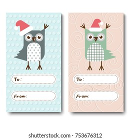 a set of Christmas cards, invitations with owls. Vector illustration