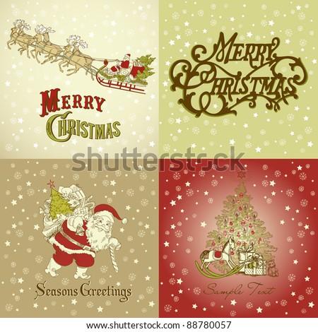 Set Christmas Cards Vintage Style Stock Vektorgrafik Lizenzfrei