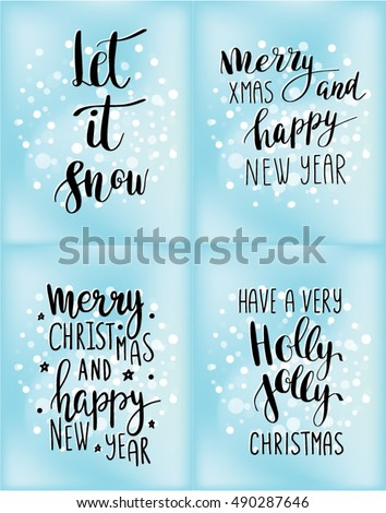 Set christmas cards winter holidays quotes stock vector royalty set of christmas cards with winter holidays quotes and phrases let it snow merry m4hsunfo
