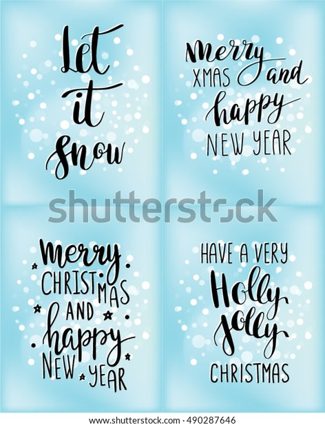 Christmas Card Quotes.Set Christmas Cards Winter Holidays Quotes Stock Vector