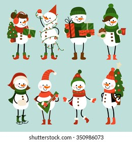 Set of Christmas characters in cartoon style. Cute snowmen in different outfits and for different occupations.
