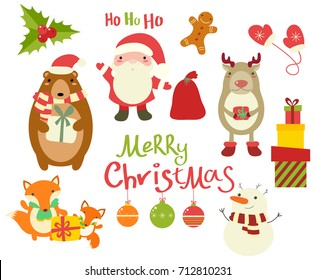 Set of Christmas Christmas characters. Cute animals - deer, bear, fox, and Santa Claus. Xmas sticker for scrapbooking. Snowman, gingerbread man, gift, mittens, holly berry leaves. EPS8