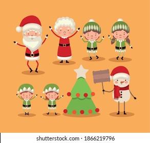 set of christmas characters on orange background vector illustration design