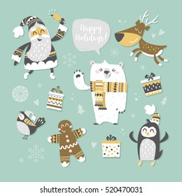 Set of Christmas characters. Santa Claus with bell , a happy polar bear, cute penguin, running reindeer, Gingerbread Man. Christmas collection for Holiday decoration. Vector illustration