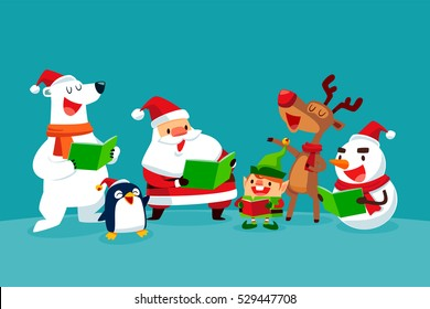 set of Christmas Characters singing Christmas carols together