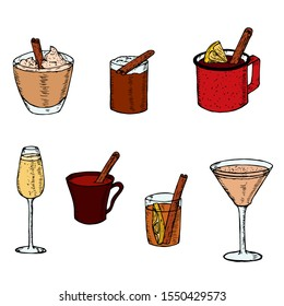 Set of christmas cocktails. Vector cartoon illustrations. Isolated objects on a white background. Hand-drawn style. Hot and cold drinks.