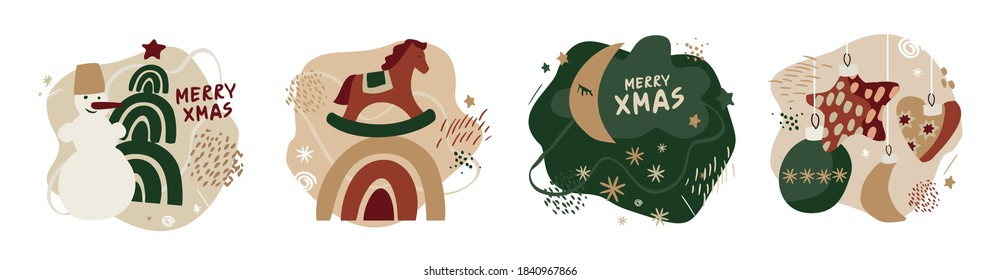 Set of Christmas compositions in vintage Scandinavian style isolated on white background. Collection of winter holiday symbols. Snowman, Christmas tree, toys for children's decor. Vector illustration