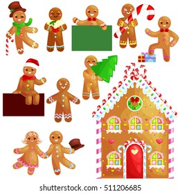 set christmas cookies gingerbread man and girl house decorated with icing dancing and having fun with gifts at home, xmas baked sweet food vector illustration