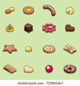 Set of christmas cookies and sweets in different shapes and sizes, decorated with marmalade, chocolate, nuts and candy (isometric objects)