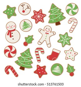 Set of Christmas cookies vector illustration