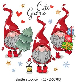 Set of Christmas Cute Cartoon Gnomes on a white background