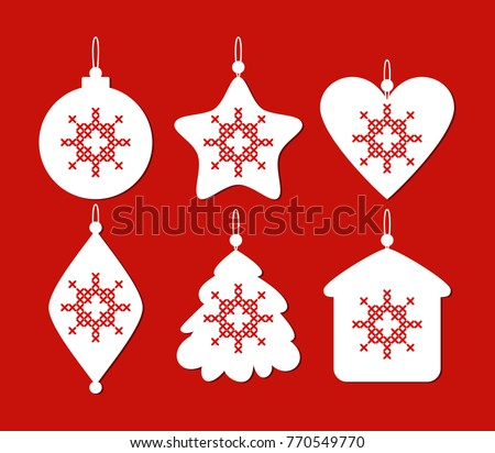 set of christmas decoration with cross stitch new years toys on red background ball - Cross Stitch Christmas Decorations