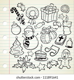 set of Christmas decoration in doodle style