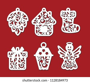 Set of Christmas decoration: fir-cone, house, xmas sock, gift box, lantern, angel. Template for laser cutting, wood carving. Vector silhouette on red background. Openwork ornate toy with lace ornament
