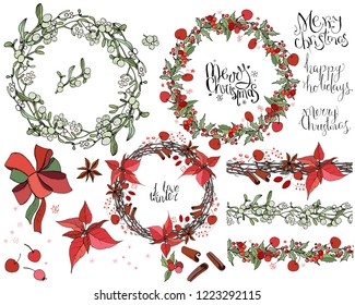 Set with Christmas decoration. Round garland decorated with season festive elements.  For season greeting cards, posters,advertisement. Vintage style.