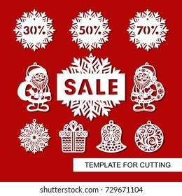 """Set of christmas decoration for shop and markers - Santa Claus, bell, gift, snowflake,ball and signboard -""""Sale"""". Templates for laser cutting, wood carving or printing."""