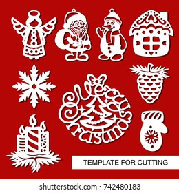 Set of christmas Decoration - silhouettes of Angel, Santa Claus, Snowman, house, candles, snowflake, pine cone. Template for laser cutting, wood carving, paper cut. Decoration for xmas tree. Vector.