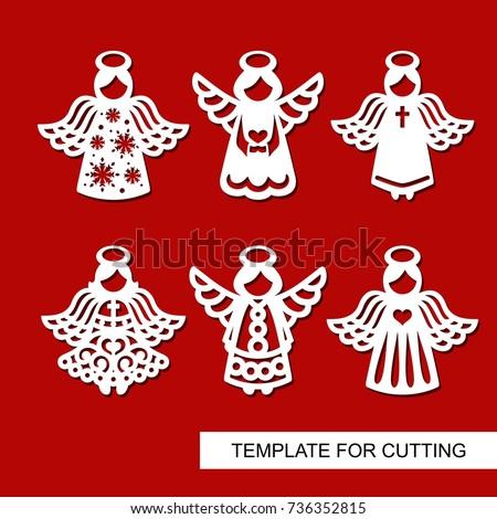 set christmas decoration silhouettes angels template のベクター画像
