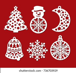 Set of Christmas decoration: xmas tree, snowman, crescent, bell, snowflake, ball. Template for laser cutting, wood carving. Vector silhouette on red background. Openwork toy with lace ornament.