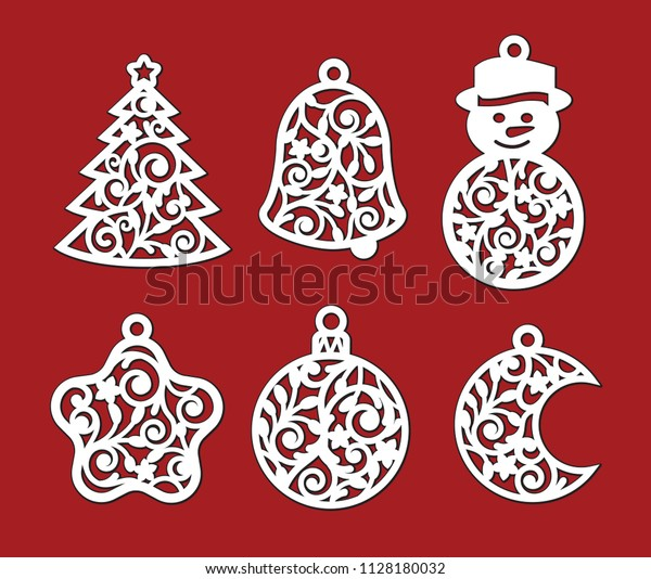 Set of Christmas decoration: xmas tree, snowman, crescent, bell, star, ball. Template for laser cutting, wood carving. Vector silhouette isolated on red background. Openwork toy with lace ornament.