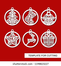 Set of Christmas decorations - balls with a deer, angel, gift, sock, lace star and christmas tree. Template for laser cut, wood carving and paper cut. Vector illustration. New Year theme. Vector.
