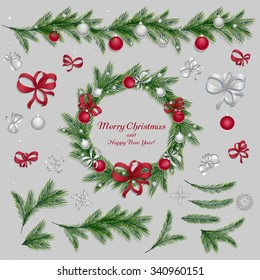 Set of christmas decorations: balls, ribbons, stars and abstract elements. Wreath, pine twigs and spruce branches, holidays border. Red and silver colors. Vector, EPS 10.