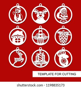 Set of Christmas decorations - balls with Santa Claus, reindeer, candle, angel, snowman, mitten, fir cone, Christmas tree, house. Template for laser cutting. New Year theme. Vector illustration.