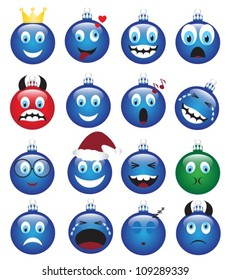 a set of Christmas decorations depicting various emotions