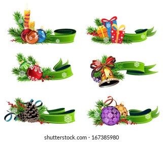 Set of Christmas decorations with green ribbons on white background