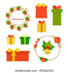 A set of Christmas decorations. Red; green with gold bouquets, gifts
