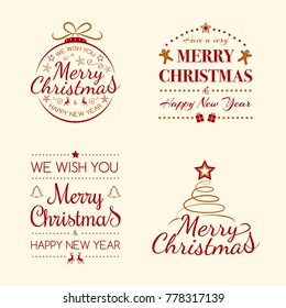Set of Christmas decorations with wishes. Vector.