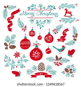 Set of Christmas Decorative Design Elements. Hand Drawn Vector Illustrations