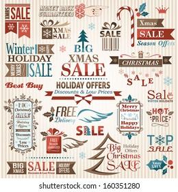 Set of christmas decorative elements (color)