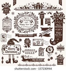 Set of christmas decorative elements (monochrome)