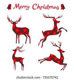 Set of  Christmas deer on tartan. Vector illustration.