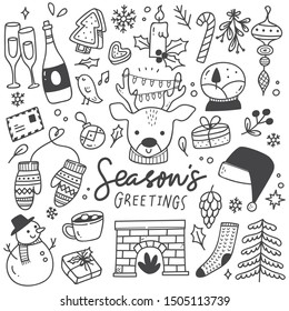 Set of Christmas design element in doodle style