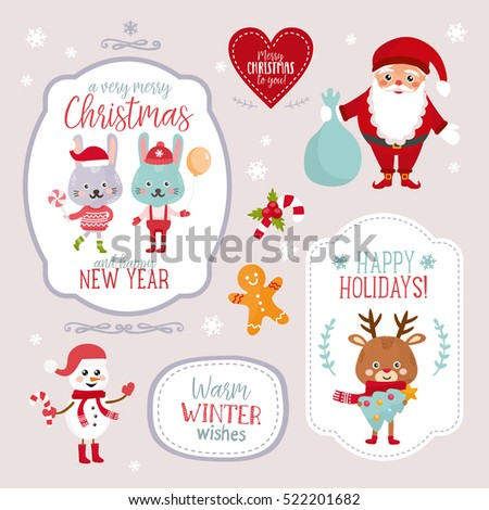 Set Christmas Design Elements Borders Frames Stock Vector (Royalty ...