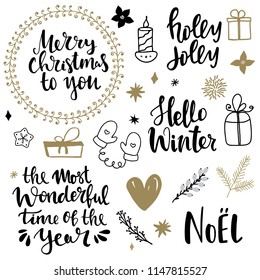 Set of christmas design elements and hand written lettering about christmas and winter holidays. Merry christmas  holly jolly, hello winter, the most wonderful time of the year hand written lettering