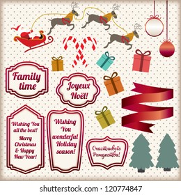 Set of Christmas Design elements, labels, illustrations of ribbon, gift box, cute Santa riding reindeer, balls, candy and tree