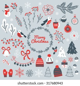 Set of Christmas design elements - snowman, berry, branches, bullfinch, ball, garland, wreath, bell, bow, poinsettia, acorns, fir trees, mittens, snowflakes, gift and hat. Perfect for greeting cards