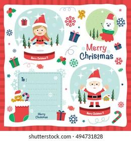 A set of Christmas design elements. vector illustration